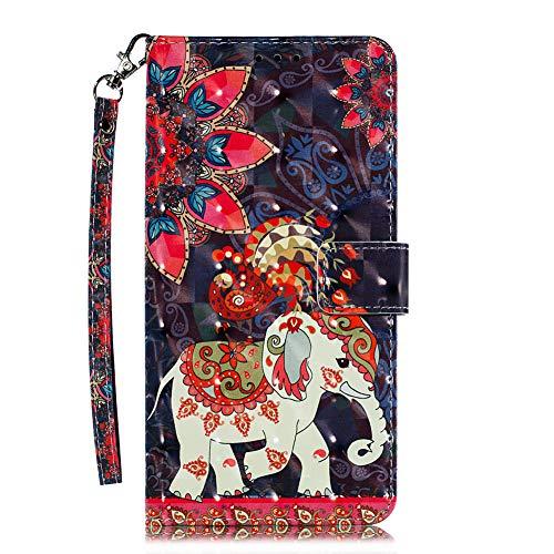 Coopay für Nokia 7.1 (5,84 Zoll) Hülle,Glitzer 3D Material Bunt Schutzhülle,Flip Stoßfest Lederhülle,Standfunktion Kartenfach Ledertasche Brieftasche,Muster Hüllen Etui Case Tasche + 1x Schlüsselband