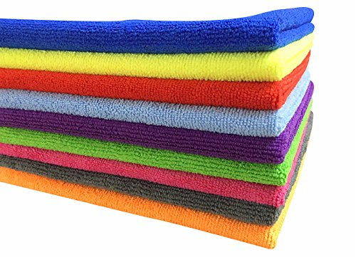 SOFTSPUN Microfiber Car Cleaning Cloth (Pack of 5) for Detailing & Polishing 340 GSM, 40 cm x 40 cm, Muticolor