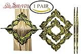 SKAVIJ aus Holz Handgefertigte Antik Design Home Dekorative Geschenke Set von 2 antiken Gold Tiebacks Drapieren Fenster Behandlung Holdbacks für Vorhang Binden