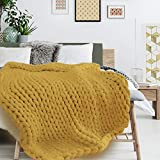 THE HOME DECO FACTORY Decke, Acryl, Gelb, Einheitsgröße