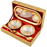 Jaipur Ace Serve Your Guest With Silver And Gold Plated Royal Bowls Set In Golden Box( 2 Bowl: 2 Spoon: 1 Tray)