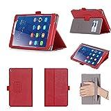 Huawei MediaPad T3 8.0 Hülle, ISIN Huawei MediaPad T3 8.0 KOB-W09 und KOB-L09 8,0 Zoll WIFI 4G LTE Tablet PC Handy Premium PU-Leder Schutzhülle Tasche Stand Cover mit Handschlaufe,Stylus Halter und Kartenschlitz (Rot)