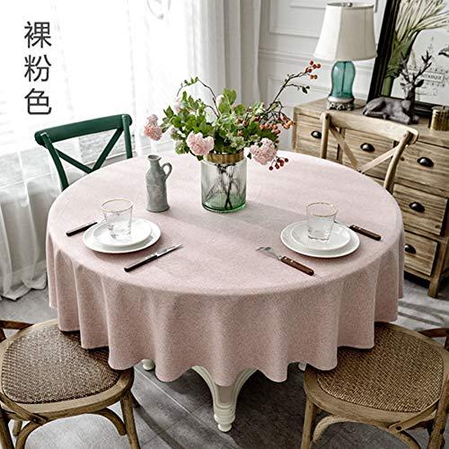 Yq whjb tonda lino di cotone tinta unita tovaglia da tavola,impermeabile dinning tovaglie,semplice prova della polvere domestico hotel da tavolo protector-rosa diameter:180cm(71inch)