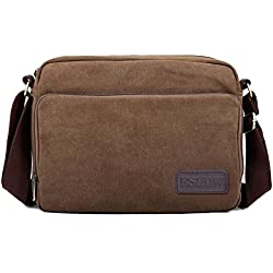 Eshow Retro Casual Multifunction Canvas Cross Body Bag - Brown
