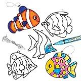 """Baker Ross Suncatcher-Anhänger """"Tropische Fische"""" mit Buntglas-Effekt für Kinder zum Bemalen und Aufhängen (6 Stück)"""