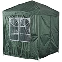 Outsunny 2m x 2m Garden Heavy Duty Pop Up Gazebo Marquee Party Tent Wedding Awning Canopy New With free Carrying Case Green + Removable 2 Walls 2 Windows