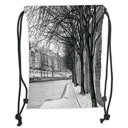 LULUZXOA Gym Bag Printed Drawstring Sack Backpacks Bags,Black and White Decorations,Seine River Paris France Snowy Winter in Urban City Trees,Black White Grey Soft Satin