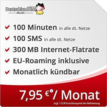 DeutschlandSIM SMART 100 [SIM, Micro-SIM und Nano-SIM] monatlich kündbar (300MB Internet-Flat, 100 Frei-Minuten, 100 Frei-SMS, EU-Roaming inklusive, 7,95 Euro/Monat) Vodafone-Netz