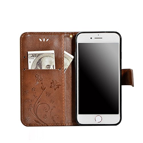 Sunroyal® Etui Housse Samsung Galaxy S3 Mini GT-I8190 Coque Sac Book Style Portefeuille Case Couvrir Swag Mince PU Cuir Leather Cas Shell Accessories Protection Protecteurs D'écran Bumper Couverture a PU Strass Marron
