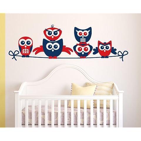 00653 Pegatina Adhesivo Vinilo Decorativo Pared por Niños Wall Art - Búhos en el alambre - 100x31 cm