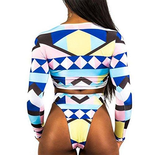 Bluestercool Costumi Donna Mare Due Pezzi Summer Swimwear Tops + Slip Bianco