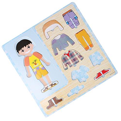 MagiDeal 1 Set Holz Dressing Up Kleidung Puzzles (10 Stück) Kinder Geschicklichkeit Spielzeug - Boy
