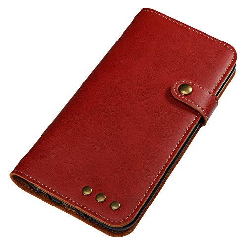 Hülle für Samsung Galaxy S7 Edge, Tasche für Samsung Galaxy S7 Edge, Case Cover für Samsung Galaxy S7 Edge, ISAKEN Farbig Blank Muster Folio PU Leder Flip Cover Brieftasche Geldbörse Wallet Case Leder Knopfe Linie Rot