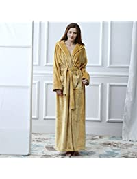 2c7d25e896 Huyizhi Bathroom Supplies Flannel Thickened Hooded Bathrobe Couple Bathrobe  Robe Cardigan Nightgown-Yellow from (