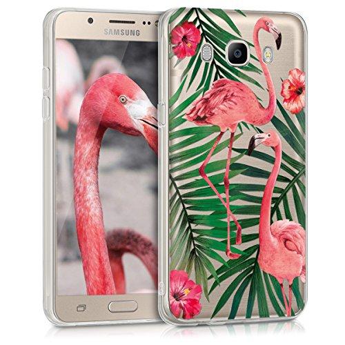 kwmobile Funda para Samsung Galaxy J5 (2016) DUOS - Carcasa de [TPU] para móvil y diseño de flamencos y Palmeras en [Rosa Claro/Verde / Transparente]