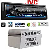 Autoradio Radio JVC KD-X151   MP3   USB   Android 4x50Watt - Einbauzubehör - Einbauset für Renault Twingo 1 - JUST SOUND best choice for caraudio