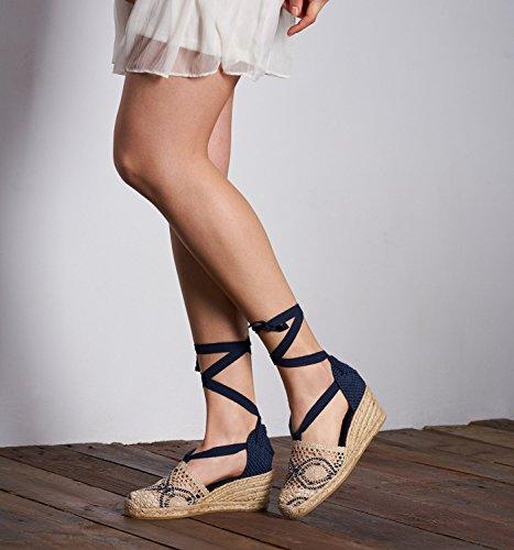 "VISCATA Escala 2.5"" Heel, Soft Ankle-Tie, Closed Toe, Classic Espadrilles Heel Made in Spain Blanc/bleu marine"