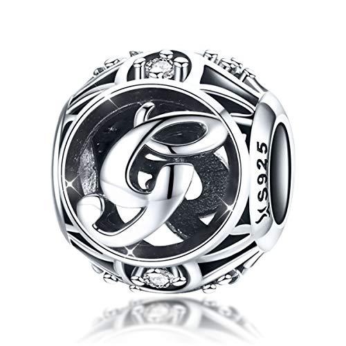 925sterling Silver lettera dell' alfabeto g charm iniziale cristallo zirconi ciondoli Birthday perline per braccialetti collane