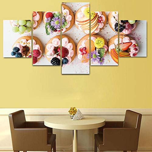 ACCEY Früchte Donuts Wandkunst Poster 5 Stück HD Drucke Moderne Leinwand Malerei Küche Dekor Wandbilder Diagramm modulares Bild @ 30X40_30X60_30X80cm_Unframed