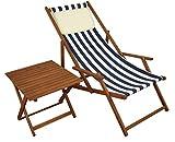 Liegestuhl blau-weiß Strandstuhl klappbar Tisch Kissen Buche Gartenliege Sonnenliege 10-317 T KH