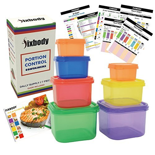 FIXBODY 7 Piece Portion Control Containers Kit (COMPLETE GUIDE + FREE 21 DAY PDF PLANNER + RECIPE E-BOOK + BODY PDF TRACKER included) - Leak proof, Perfect Size, Color-coded by FIXBODY - Portion Control Kit