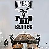 Citazione del vino Adesivo Bere alcol Bar Ristorante Adesivo Negozio Demolizione Arte Murale Home Decor Wallpaper 89x56cm