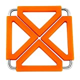 Stoga Silicone Sottopentola Espandibile Trivet Mat / Hot Pot Porta Pastiglia (2 pezzi)-Arancia
