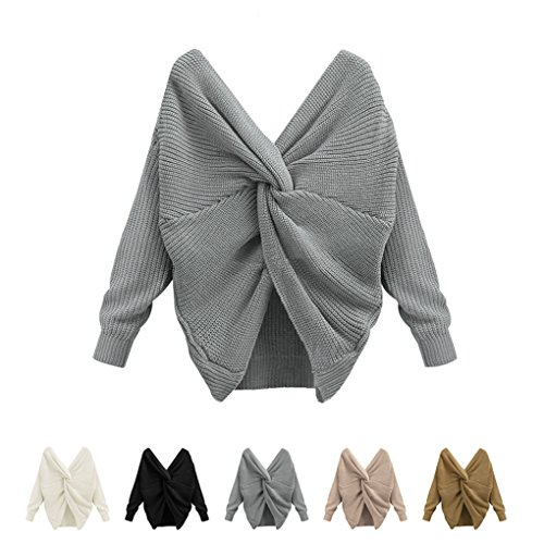 Masterein Sexy Backless Reversible Off Shoulder Sweater V-Neck Cross Back Femme ¨¤ manches longues Pull Gris