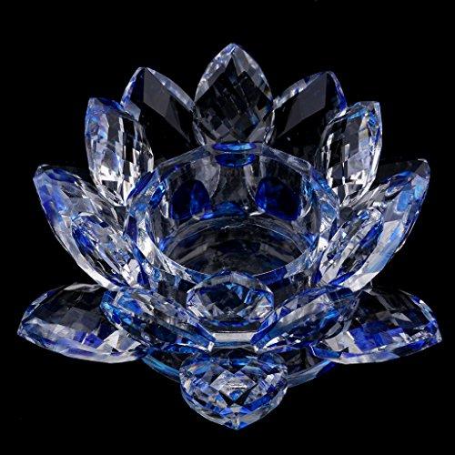 KESOTO Kristallglas Lotus Blume Buddhistischen Kerzenhalter Teelichthalter Ornament - Blau