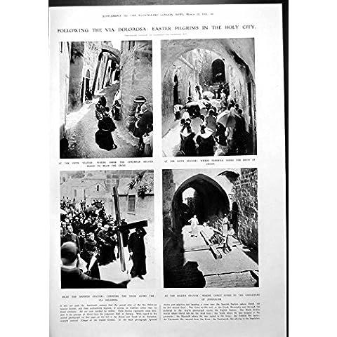 Imprima a los Peregrinos de Pascua Vía la Catedral AE Howarth de Dolorosa Ruán 1913 1077RP242