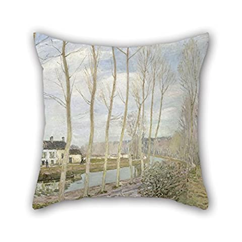Artistdecor Oil Painting Alfred Sisley - The Loing's Canal Pillow Cases 20 X 20 Inches / 50 By 50 Cm Gift Or Decor For Play Room,couch,boy Friend,outdoor,him,monther - Twin