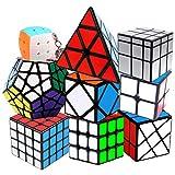 Coolzon Cubo de Velocidad, Puzzle Cubes Set de 2x2 3x3 4x4 Pyraminx Megaminx Mirror Skewb Fisher Mini Cubo Llavero, Speed Cube Juego de Puzzle para Niños Adultos, Paquete de 9