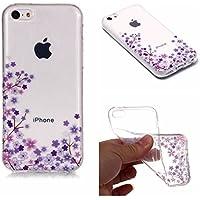QFUN Funda iPhone 5C Silicona Transparente, Suave Carcasa Flexible con Dibujos [Flor de Cerezo Morado] Ultra Slim Fina Gel TPU Bumper Case Anti-Arañazos Antigolpes Cubierta para iPhone 5C