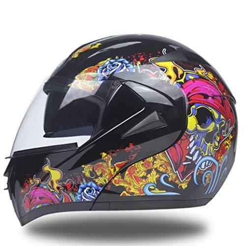 OLEEKA Casco Flip Up modulare a doppio visore a 10 colori con casco omologato Taglia M, L, XL