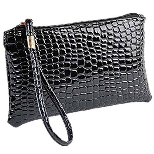 ZARU Frauen-Krokodil-Leder-Kupplungs-Handtasche, Münzen-Geldbeutel (Schwarz)
