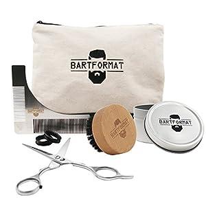 """BARTFORMAT Bartpflege Set""""SCHNITTWUNDER"""" – XL Bartschere + Rasur Schablone + Bartbürste + Kulturbeutel"""