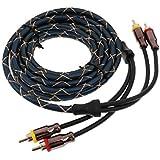 Gazechimp Câble RCA 4.5 m Noir Corde Audio Stéreo Amplificateur Corde de Haut Parleur
