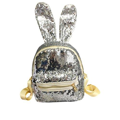 Zaini Moda,Kword Donne Tempo Libero Scuola Borsa Viaggio Pack Ragazze Paillettes Backpack Argento