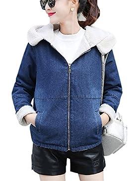 Mujer Invierno Chaqueta De Mezclilla Espesar Cálido Abrigo Outwear Con Capucha Azul M
