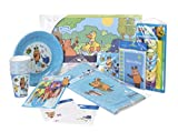 Wenco Maus Kinderparty-Set für Jungen, Mit Einladungskarten, Tischdecke, Ess-Sets, Tellern, Bechern, Servietten, Tischkarten, Trinkhalmen und Partypickern, 130-teilig, Blau, 975100