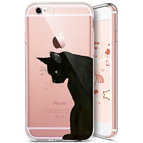 iPhone 6S Coque,iPhone 6 Coque,Etsue Coque en Silicone Étui Housse de Protection TPU [ Liquid Crystal ] Chat Motif Transparent Clear View Chat Marrant Case Gel Souple Coque Ultra Mince Léger Flexible  Chat 11#