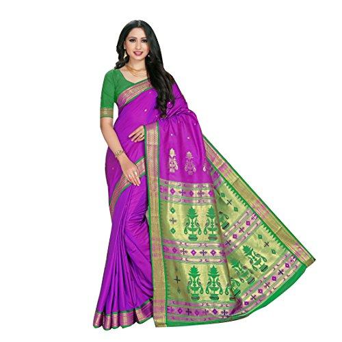 Craftsvilla Women's Silk Blend Saree with Buti Work Purple color with Blouse...