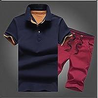 WLG Pantalones Cortos de Manga Corta Hermosos de la Moda del Algodón de Los Hombres Dos Sistemas,H,XXL