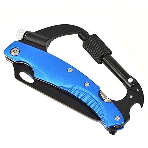 Beetest Outil polyvalent Camping survie couteau porte-clés Clip mousqueton avec lampe de poche tournevis et décapsuleur pour sac à dos Camping randonnée montagne escalade bleu