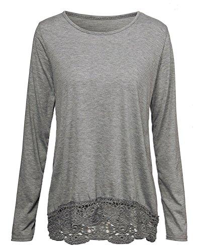Zanzea Sexy Langarmshirt mit Spitze für Damen, casual, gehäkelt, Rundhals, einfarbig, für den Herbst Tops Grau