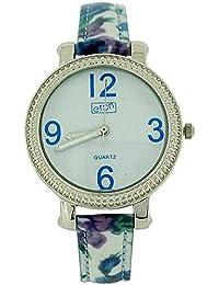 Eton Ladies White Dial, Cream & Blue Floral Design Fashion PU Strap Watch 3197L