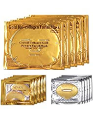 Aliver 24k Gold Bio-collagen Face Facial Mask + Gold Collagen Moisturizing Neck Mask + 2pairs Gold Powder Eye Mask+ 2pcs Gold Lip Mask (2sets/package)