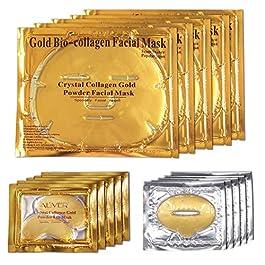 ALIVER 24k Maschera per il viso al collagene d'oro, Maschera per gli occhi con polvere d'oro e Maschera per le labbra (5…