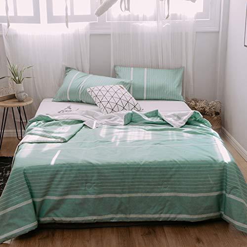 Chunse Simple Style Bettwäsche Set, Cool Summer Quilt Set Geometrisches Muster auf beiden Seiten erhältlich Geeignet für Nickerchen-Decken,Green,4piece200X230cm -