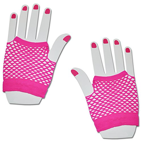 SHORT FISHNET HAND GLOVES PARTY FANCY DRESS TUTU (Neon Pink)